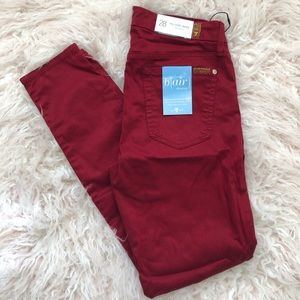 NWT 7 For All Mankind Red Ankle Skinny, Sz28